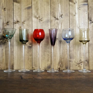 Six Long Stemmed Quirky Glasses